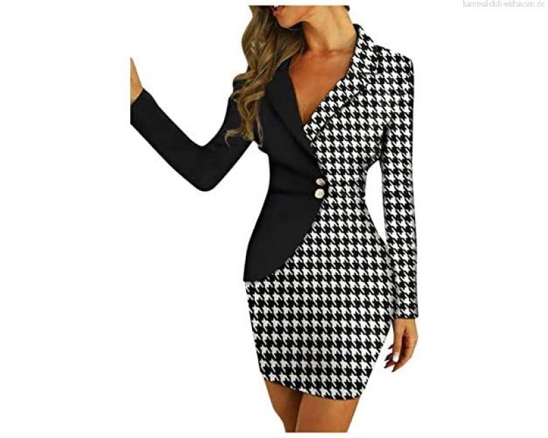 KarlMRush Womens Pencil Dress Patchwork V Neck Long Sleeve Button Down Slim Above Knee Length Package Hip Dresses for Business Office