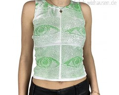 Frauen Y2K Tanktops mit Rundhalsausschnitt Sexy 90er Jahre Vintage Abstract Printing Westentops E-Girls Exposed Navel Sleeveless Tops (White Green Small)
