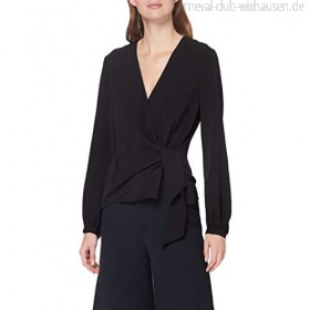 French Connection Damen Crepe Light Long Sleeve Wrap Over Top Bluse